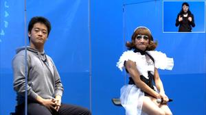 「八方不美人」のエスムラルダさん(右)の隣で話しをする田中謙太朗さん(オンライン画面より)
